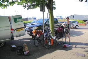 Unloading our bikes in Dover
