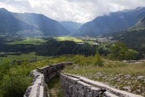 The Celo Austrian gun emplacement overlooking Bovec and its valley.