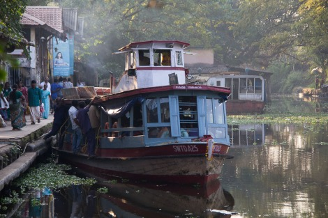 A small local ferry that serves the backwaters.