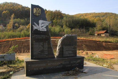 War memorial for the NATO bombing of a bridge/train.