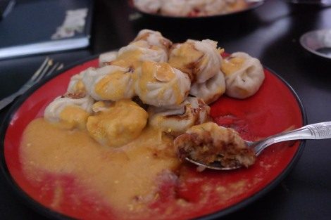 Momos... food from heaven - dumplings that are either filled with veg, chicken or 'buff' (buffalo).